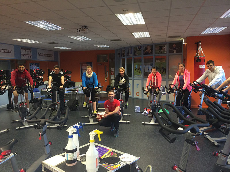 Students on Award in Studio Cycling course in Cardiff